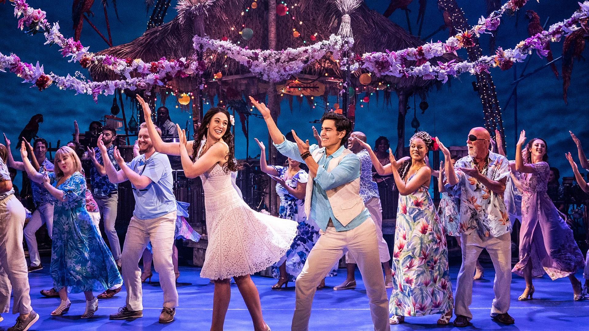 Escape to Margaritaville cast onstage
